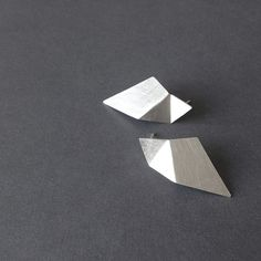 Geometric Silver Earrings Triangle Sterling Silver by RawObjekt