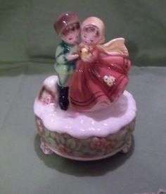 "Vintage Josef original music box plays ""Lara's Song"" boy&girl figurine"