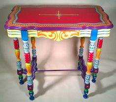 Hand Painted Furniture- Side Table or Accent Table - side tables and accent tables - by EcoFirstArt