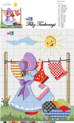 Designed by Filiz Türkocağı. Cross Stitch For Kids, Cross Stitch Baby, Cross Stitch Flowers, Cross Stitch Charts, Cross Stitch Designs, Cross Stitch Patterns, Cross Stitching, Cross Stitch Embroidery, Hand Embroidery