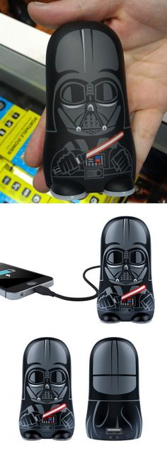 """The Darth Vader Mimopowerbot charger ($70) made an appearance at the tiny @mimoco booth at the recent New York Comic Con. The lithium ion charger has enough muscle (5200 mAh) to charge tablets as well as smartphones (5V, 2.1A). No, you can't use """"The Force,"""" but the 5.1-ounce unit comes with a Micro USB charging cable and an Apple Lightning adapter."""