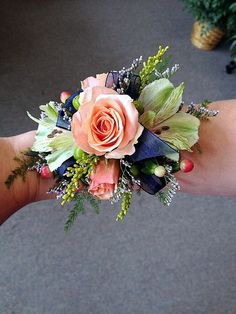 Garden Style Wrist Corsage with Peach Spray Roses, Alstroemeria & Coffee Berry Rainbow's End Floral www.rainbowsendfloral.com