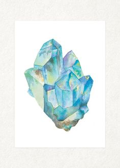 Aquamarine 1 5 x 7 Watercolor Art Print от songdancedesign
