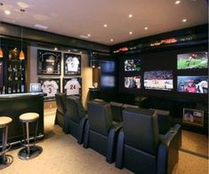 Man Cave Designs, Best Man Caves, Home Theaters, Sports Man Cave, Football Man Cave, Football Jerseys, Man Cave Ideas Sports Theme, Hockey Man Cave, Sports Bar Decor