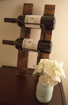 Wine Rack Mini, 3 bottle wine rack made from reclaimed wood wine barrels by BarrelsAndBarnWood on Etsy https://www.etsy.com/listing/124742656/wine-rack-mini-3-bottle-wine-rack-made