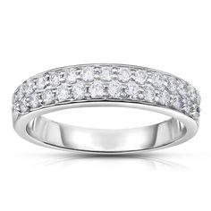 Noray Designs 14k White Gold 1/2ct TDW White Diamond Double-Row Ring (G-H, I1-I2) (Size 6.5), Women's, White G-H