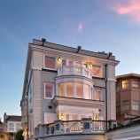 Perched on a cliff overlooking the Pacific Ocean, this home in San Francisco's Sea Cliff neighborhood is now on the market for $18.5 million. It features seven bedrooms, five full bathrooms, two half bathrooms, a media room, library, home offices and gym. There is an elevator to every level.