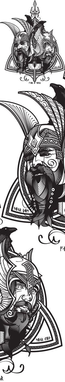 Father & Son by Gui Soares, via Behance Arte Viking, Viking Art, Norse Tattoo, Viking Tattoos, Vikings, Doodles Zentangles, Symbole Viking, Desenho Tattoo, Norse Mythology