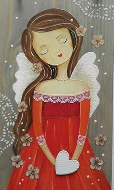 Angel of Valentine - Art Fantaisiste, Angel Drawing, Angel Crafts, Angel Pictures, Angel Art, Whimsical Art, Painted Rocks, Art Drawings, Art Projects