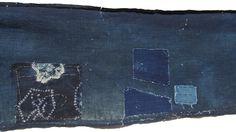 Antique Aizome Indigo Cotton. Japanese Folk Textile with Boro Shibori Patches. (Shop Ref: 091)). ¥6,000, via Etsy.