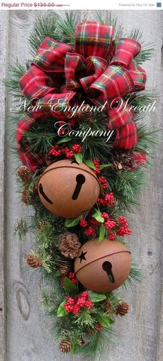 Discover thousands of images about Christmas Wreath Christmas Swag, Holiday Door Wreath, Sleigh Bells, Woodland Christmas Swag, Country Rustic Christmas Christmas Swags, Woodland Christmas, Christmas Door, Outdoor Christmas, Rustic Christmas, Winter Christmas, Primitive Christmas, Christmas 2019, Holiday Door Wreaths