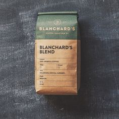 Packaging / Blanchard's Coffee Roasting Co. Food Packaging Design, Coffee Packaging, Coffee Branding, Bottle Packaging, Packaging Design Inspiration, Baking Packaging, Kraft Packaging, Product Packaging, Product Label