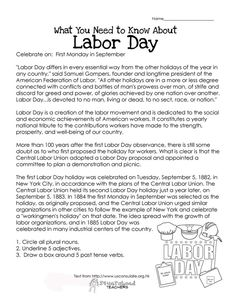 What kids need to know about Labor Day (other than not to show up to school that day), including the history of Labor Day and its purpose. This worksheet also has some parts of speech practice at t… Free Worksheets For Kids, Free Kindergarten Worksheets, Free Printable Worksheets, Grammar Worksheets, Classroom Activities, Speech Activities, Group Activities, Holiday Activities, Labor Day History
