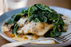 Quick Steamed Flounder With Ginger-Garlic Mustard Greens by Melissa clark, nytimes #Fish #Flounder #Ginger #Mustard #Garlic #Greens #Healthy