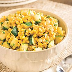 Sweet Corn and Zucchini: Sauté zucchini and onion in butter in a large skillet over medium-high heat 5 minutes. Add corn kernels, chives, and taco seasoning mix; sauté 5 minutes or until tender.
