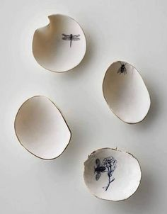 so precious - Brooches from  Limoges porcelain, luster gold, transfer, silver handmade, unique pieces by Letizia Maggio - AGC