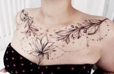 Me gusta la forma y las partes frondosas, Chest Tattoo Female Upper, Chest Tattoos For Women, Chest Piece Tattoos, Sexy Tattoos For Girls, Band Tattoos, Ribbon Tattoos, Celtic Tattoos, Wolf Tattoos, Eagle Tattoos