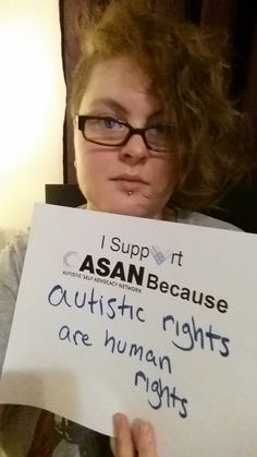 "Cori's #Unselfie says, ""I Support ASAN because Autistic Rights are Human Rights"""