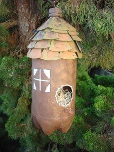 Kid's Craft??  - I like this little birdhouse made from a soda bottle.  I can think of all kinds of ways to embellish it.