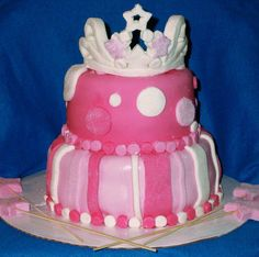 A princess Birthday cake. Perfect for a Princess Birthday party! princess birthday party princess cake crown tiara pink party