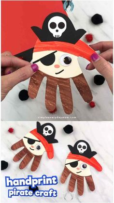Handprint Pirate Craft For Kids Handprint Pirate Craft For Kids | This easy kids craft is the perfect summer activity for toddlers, preschool and kindergarten children. It's fun to use in the classroom or at home.  #simpleeverydaymom #summercrafts #piratecrafts #summeractivities #toddlers #preschool #kindergarten #children #teachingkindergarten #easycraftsforkids #kidscrafts<br> Bee Crafts For Kids, Halloween Crafts For Kids, Diy And Crafts, Craft Kids, Easy Crafts, Kids Diy, Easy Diy, Recycled Crafts, Creative Crafts