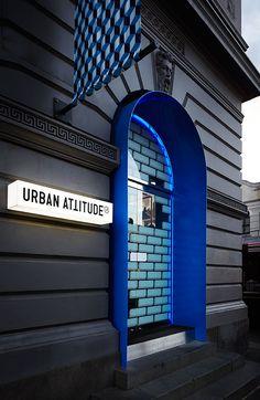 Urban Attitude - blue modern doorway update to classic building. Signage Design, Facade Design, Door Design, Exterior Design, Architecture Design, Retail Facade, Shop Facade, Retail Signage, Facade House