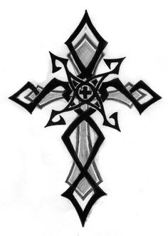 Black Tribal And Cross Tattoo Design Black Cross Tattoos, Tribal Cross Tattoos, Celtic Cross Tattoos, Cross Tattoo Designs, Cross Designs, Leo Tattoos, Bild Tattoos, Future Tattoos, Body Art Tattoos