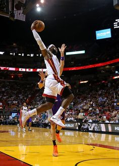 LeBron James #6 of the Miami Heat dunks during a game against the Phoenix Suns at AmericanAirlines Arena on November 5, 2012 in Miami, Florida.