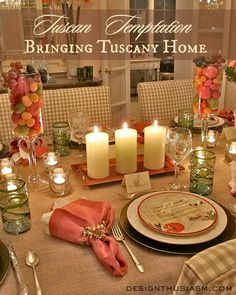 A TUSCAN INSPIRED TABLESCAPE showing all you need on your table to remind your guests of a trip to Italy. | Designthusiasm.com #tablesetting #tuscandecor