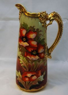 Pickard Limoges Signed Tankard Pitcher Poppies Dragon Handle Northwind Spout 11 034   eBay