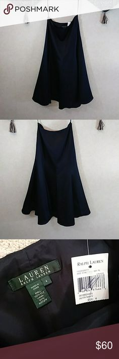 """NWT LAUREN skirt 100% silk midnight blue This LAUREN RALPH LAUREN silk skirt is so full, elegant and flattering!  Since purchasing, I've tried it on a few times, but have yet to wear it. It's Size 4, yet I believe it fits more like a Size 6-8 in the waist. Gorgeous midnight blue!  Waist- 30"""", Waist to hem-32-1/2"""", Sweep- approx 143"""" (twirl worthy). Lauren Ralph Lauren Skirts A-Line or Full"""
