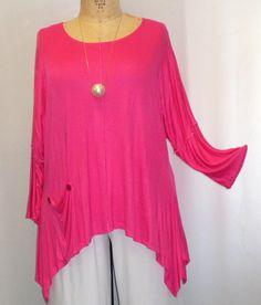 Coco and Juan Lagenlook Plus Size Top Bright Pink door COCOandJUAN