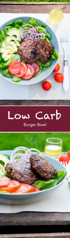Schnell & easy Low Carb Burger Bowl mit Avocado, Zwiebeln, Tomaten und Rindfleisch-Pattie