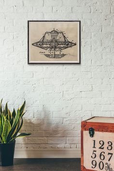 Carr UFO Amusement Ride Patent - Space Patent - Alien UFO - Printed on hand aged vintage paper - vintage science art