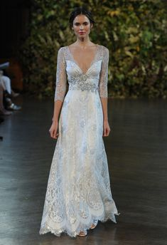 Embellished Lace Sleeve Wedding Dress | Claire Pettibone Wedding Dresses Fall 2015 | Kurt Wilberding | blog.theknot.com