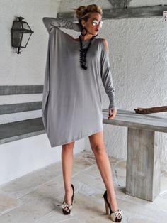 Légère robe asymétrique gris  Blouse  Tunique / par SynthiaCouture