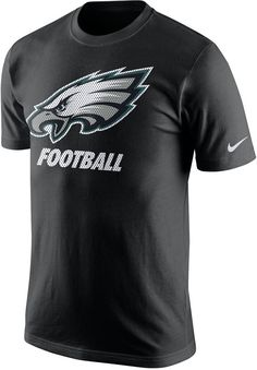 With this Nike NFL Facility t-shirt you can wear the same weight room look as your favorite players. This tee features the Philadelphia Eagles logo at front, giving you a casual, stylish way to support your favorite team. Ribbed crew neckline with interior taping Short sleeves Screen print team logo at front Nike swoosh logo at left sleeve Loose fit Tagless Cotton Machine washable