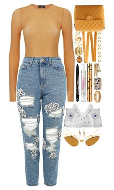 """""""gold and rhinestones"""" by iriskatarina ❤ liked on Polyvore featuring Chanel, Wolford, Yves Saint Laurent, Cartier, Topshop, Joanna Laura Constantine, Too Faced Cosmetics, Converse and Edge Only"""