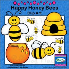 Happy Honey Bees Clip Art ($)