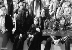 John Lennon (1940 - 1980) with Yoko Ono, his son Julian and guitarist Eric Clapton during a rehearsal for the Rolling Stones' 'Rock and Roll Circus' TV special, at Internel Studios in Stonebridge Park, Wembley, London, 10th December 1968. getty images: David Cairns