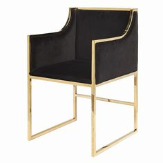 Worlds Away Anabelle Brass Occasional Chair with Black Velvet Upholstery