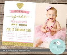 GOLD AND PINK Invitation She leaves a little sparkle wherever she goes Birthday party Invite Printable with photo Glitter Gold Sparkle This