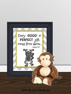 This printable gray chevron sign features an adorable monkey with a yellow glitter border and the bible verse: Every good & perfect gift comes from above. James Decor Gray Chevron Bible Verse Sign by WeLovePrintableArt Nursery Signs, Room Signs, Nursery Room, Baby Room, Chevron Signs, Grey Chevron, Bible Verse Signs, Bible Verses, Monkey Decorations