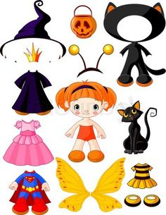 Stock vector of 'Paper Doll with three dresses for Halloween Party'