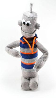 Robot guy wearing a sock as a hoodie. https://www.etsy.com/shop/sockart http://rhythmsofgrace.ca/thelab/