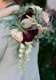 peach and eggplant purple bouquet