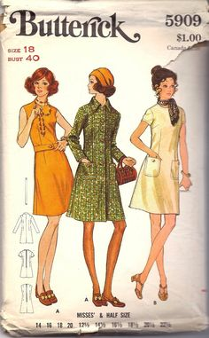 Butterick 5909, Vintage 1960s 1970s Dress and Coat Sewing Pattern, Mod Dress and Coat. $10.00, via Etsy.
