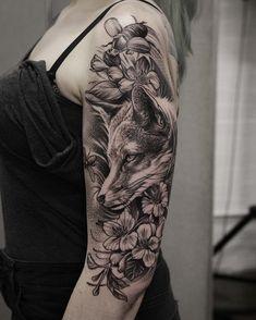 dotwork fox tattoo on halfsleeve #beautytatoos