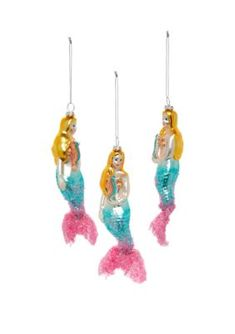 Joyland Seas & Greetings Set Of 3 Seahorse Mermaid Ornaments - Pink Party Mermaid Ornament, Pink Parties, Merry Christmas, Seasons, Drop Earrings, Ornaments, Holiday, Party, Products