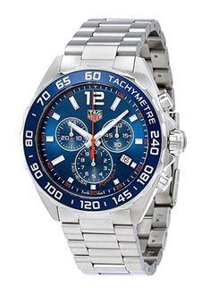 3cb40e7b853 TAG Heuer Men s Formula 1 43mm Steel Bracelet  amp  Case Quartz Blue Dial  Analog Watch